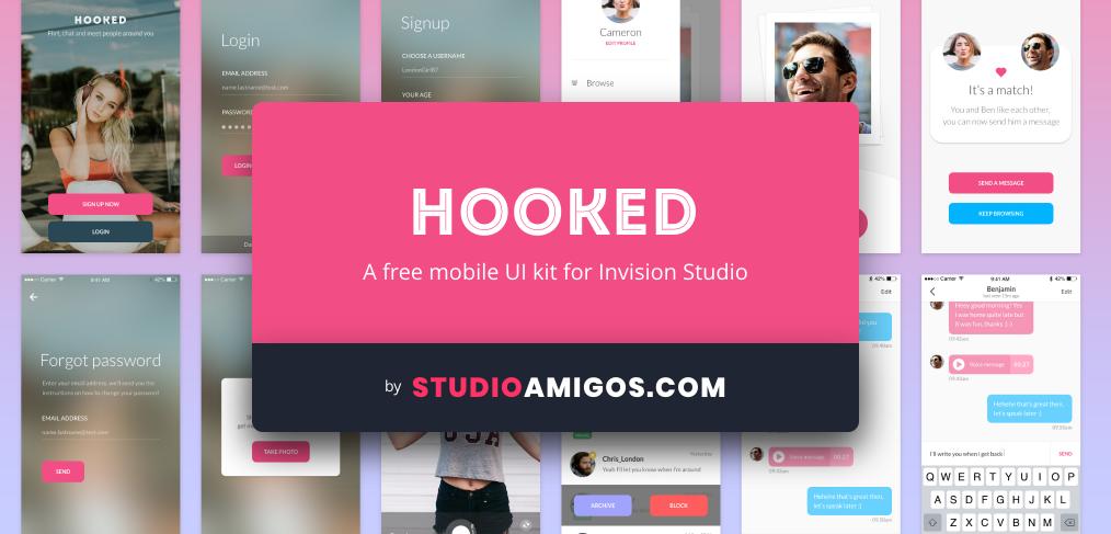 Hooked: a free UI kit for Invision Studio - StudioAmigos com